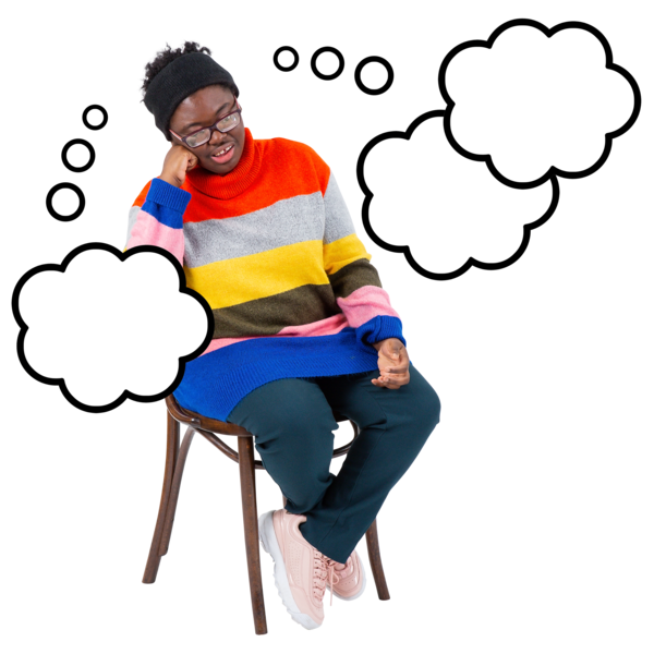 lady sat on chair looking unhappy with empty thought bubble