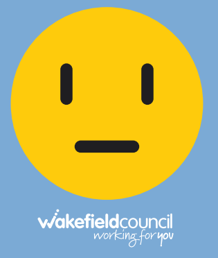 yellow face on blue background with Wakefield Council logo